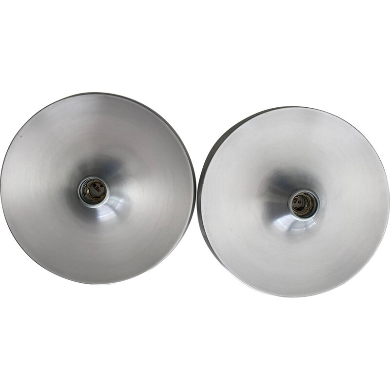 Pair of vintage sconces in brushed aluminium for Charlotte Perriand 1960