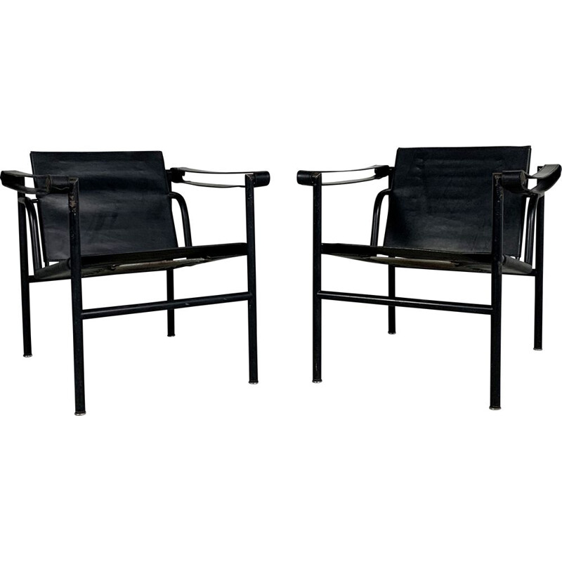 Pair of vintage Full Black LC1 Armchairs by Le Corbusier for Cassina, 1970s