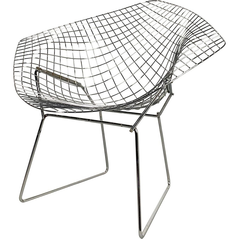 Vintage Chromed Diamond Chairs by Harry Bertoia for Knoll, 1950s