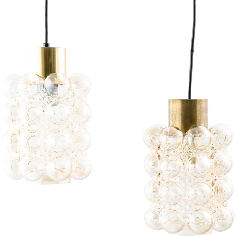 Pair of vintage bubble glass ceiling light, Helena Tynell and Heinrich Gantenbrink 1960s