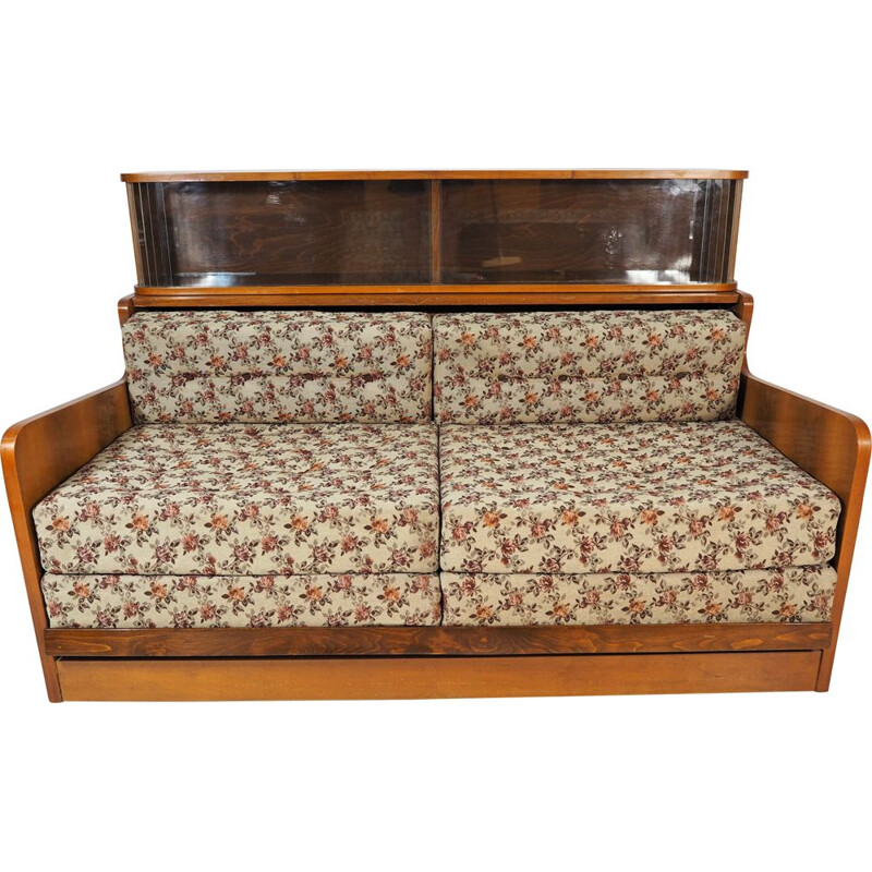 Vintage Walnut Sofa Bed, Art Deco 1950s