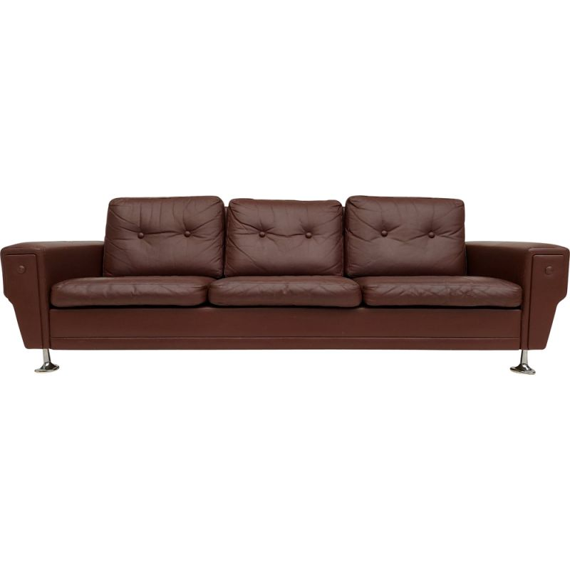 Vintage 3-seater sofa leather Danish 1970s