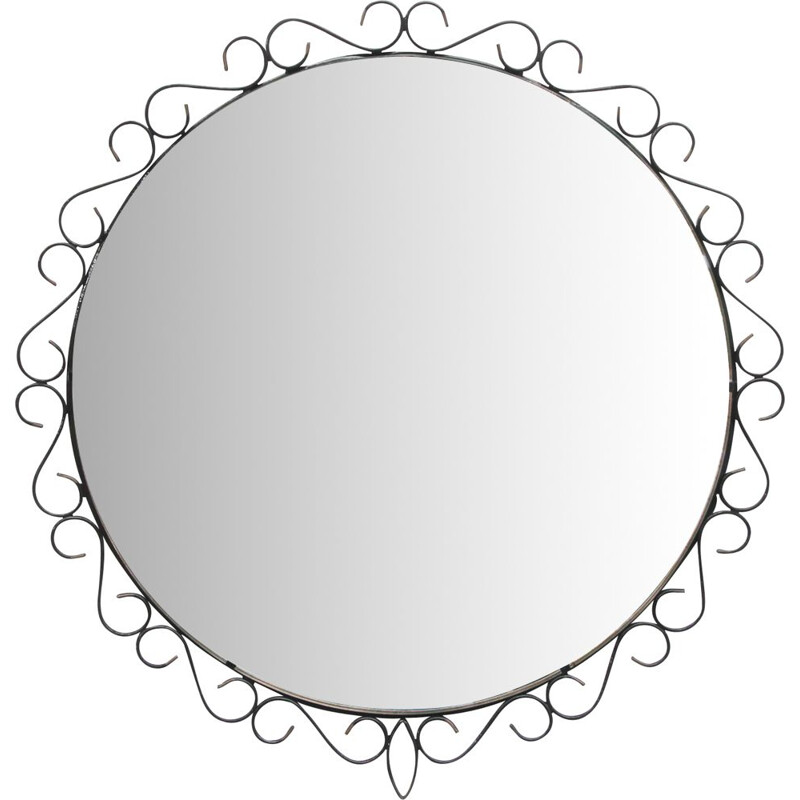 Vintage black metal mirror 1950s