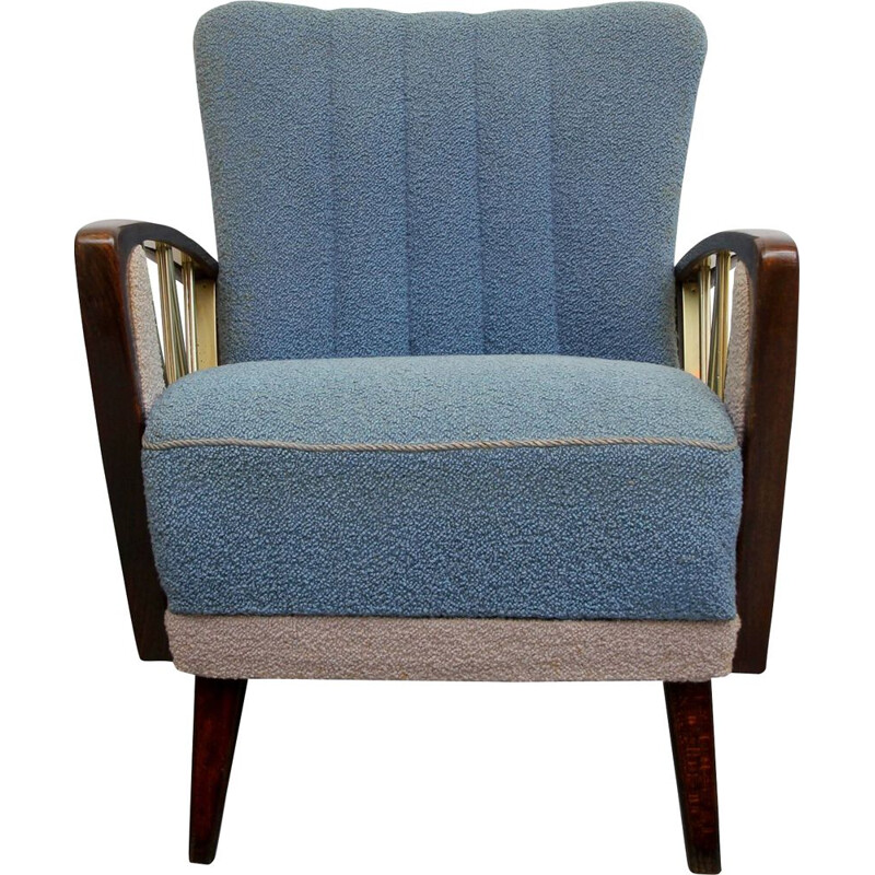 Vintage armchair in grey and blue 1950s