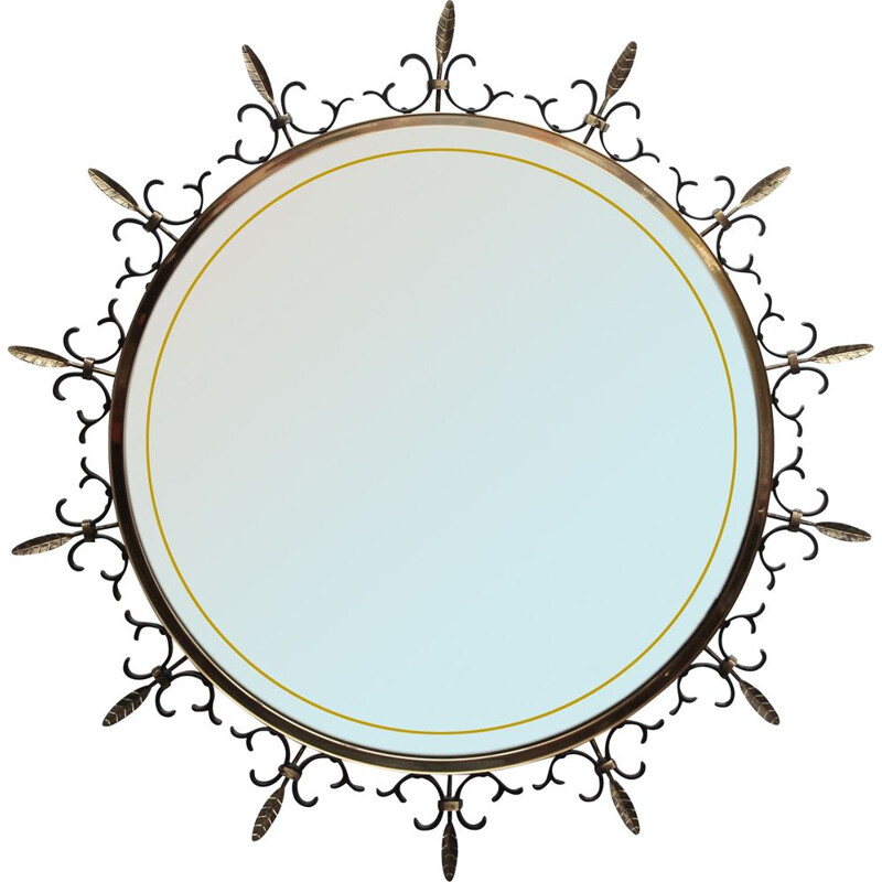 Vintage Lighted mirror in metal and brass 1950s