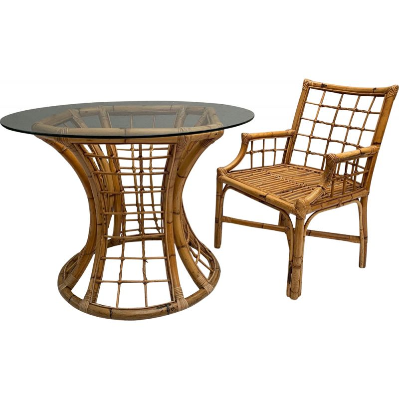 Vintage table in Rattan and Glass