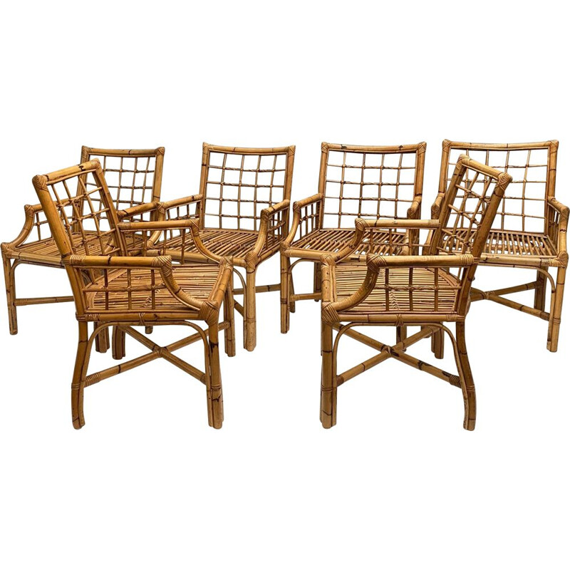 Set of 6 Vintage Rattan Chairs