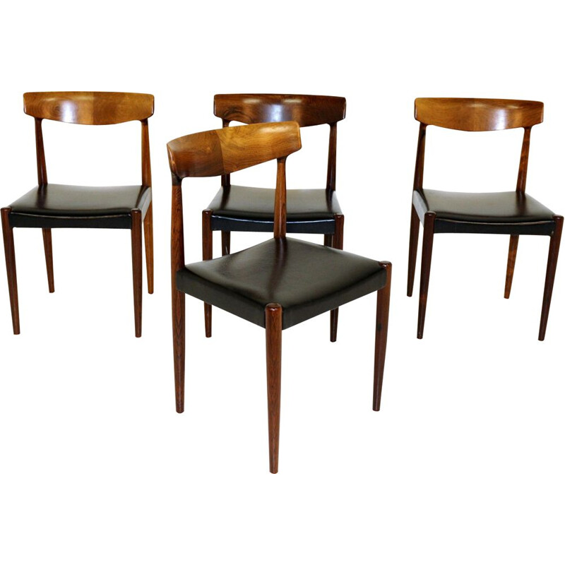 Set of 4 vintage chairs Knud Faerch, Slagelse Møbelfabrik, Denmark, 1960