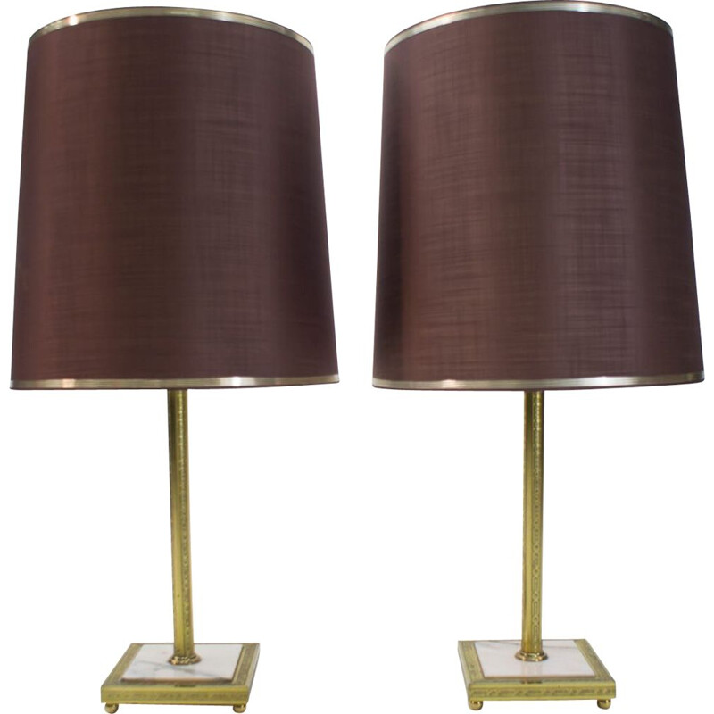 Pair of Large vintage Brass and Marble Table Lamps, 1960s