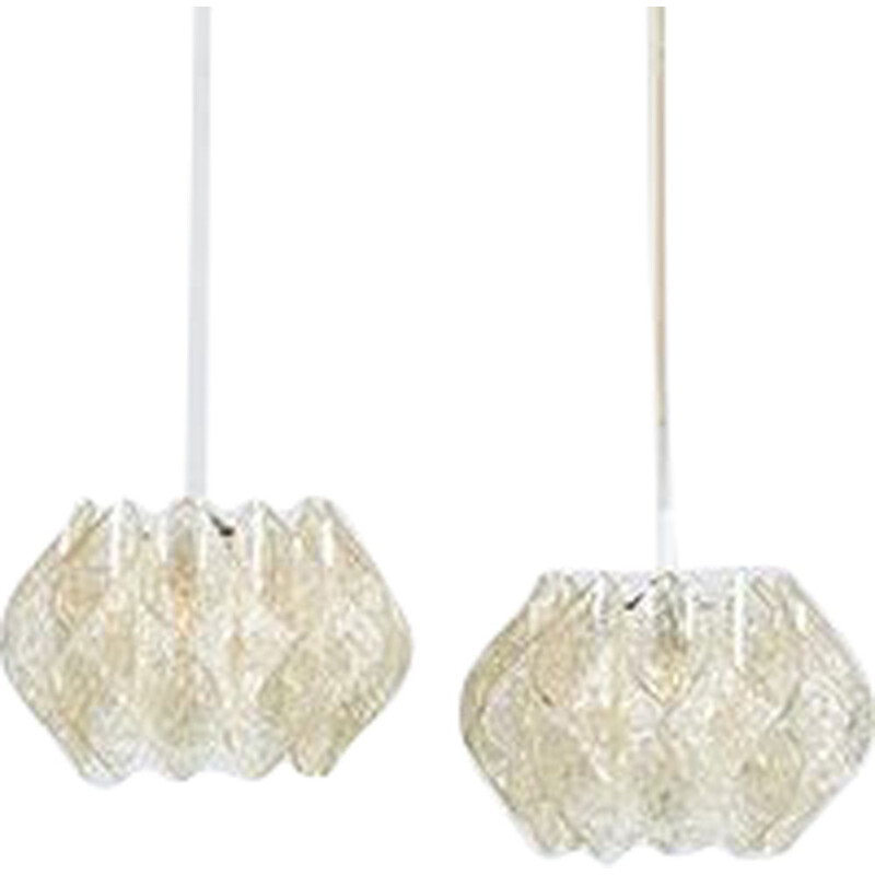 Pair of Vintage Space Age Acrylic Pendant Lamps by Kalmar, 1960s