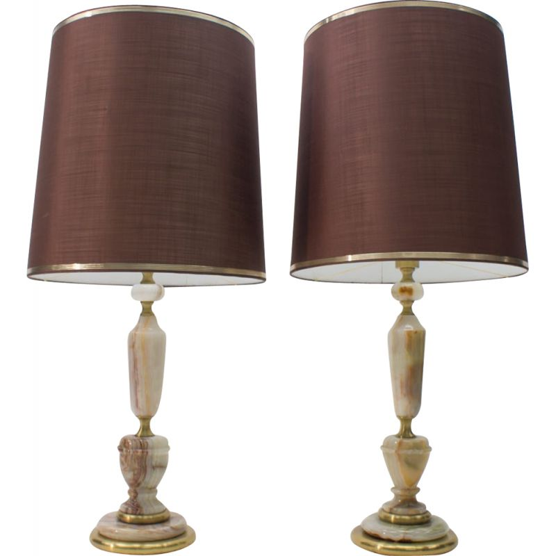 Pair of Large vintage Brass and Onyx Table Lamps, 1960s