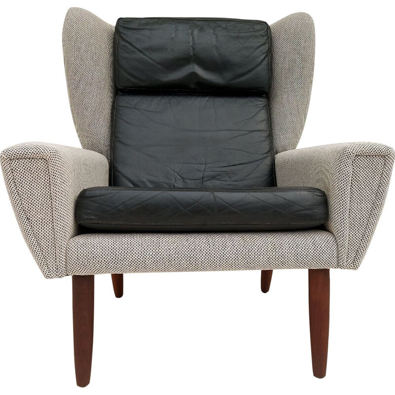 Vintage Danish armchair in wool and leather 1970