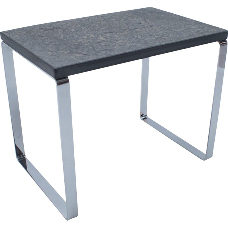 Vintage Slate and Chrome Side Table from Draenert, German 1960s