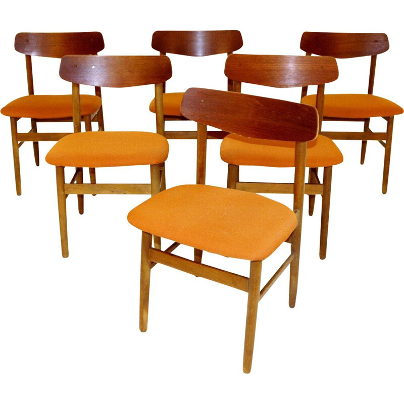 Set of 6 vintage teak and beech chairs, Denmark 1960