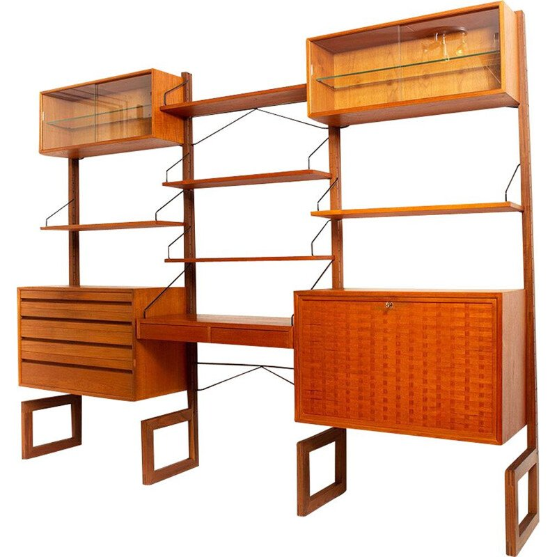 Vintage free-standing teak wall unit by Poul Cadovius for Cado Denmark, 1950s