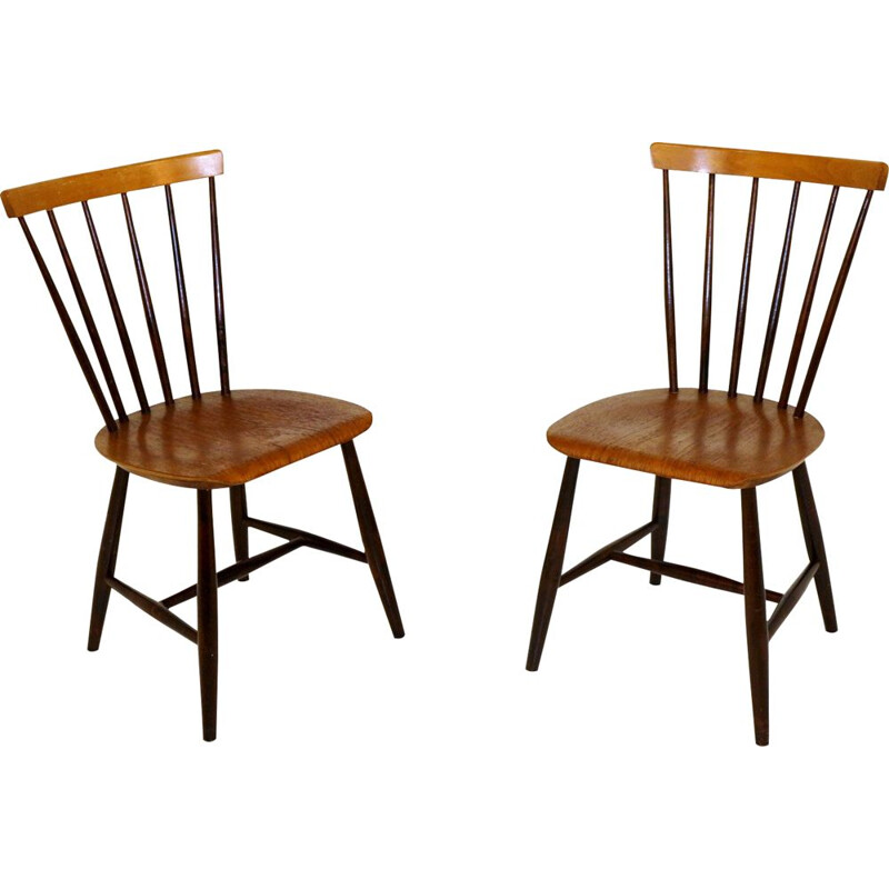 Pair of typical Swedish vintage teak and beech stick chairs