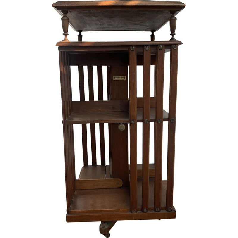Vintage bookcase Terquem walnut rotating 1900