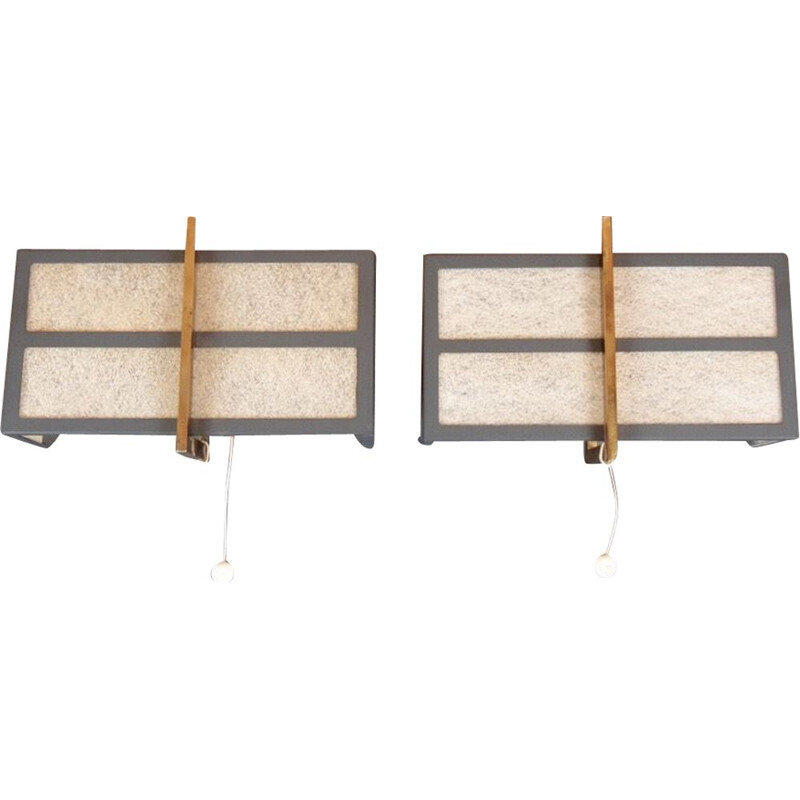 Pair of vintage modernist sconces by Boulanger, 1960