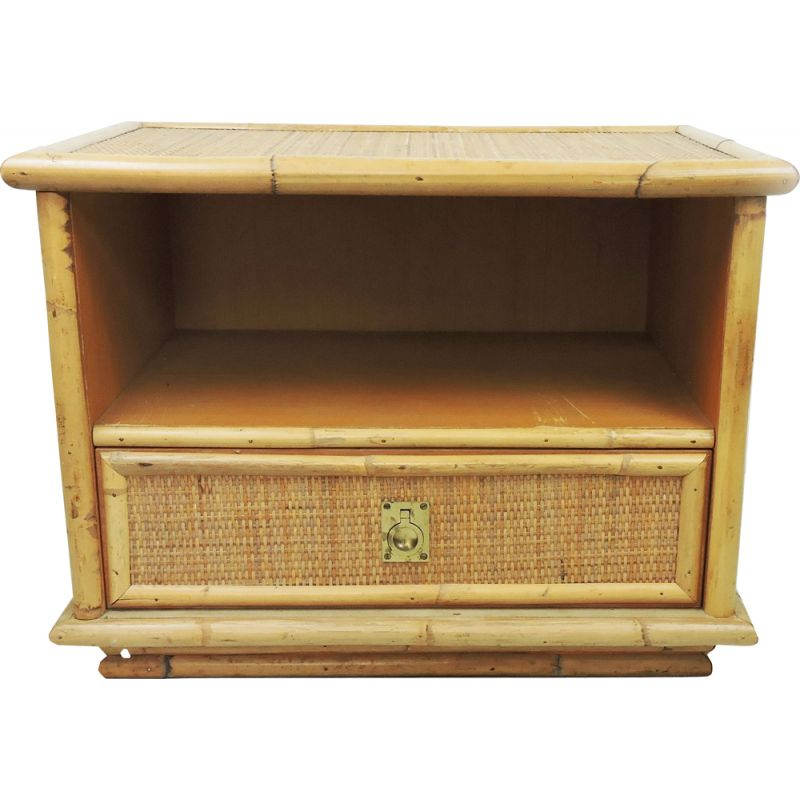 Vintage Dal Vera Bamboo and Wicker & Rattan Side Cabinet, Italy, 1960s