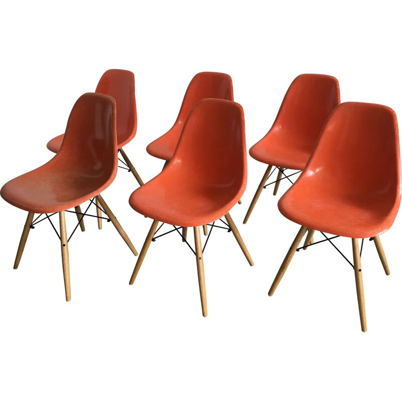Set of 6 vintage dining chairs orange DSW  by Charles & Ray Eames