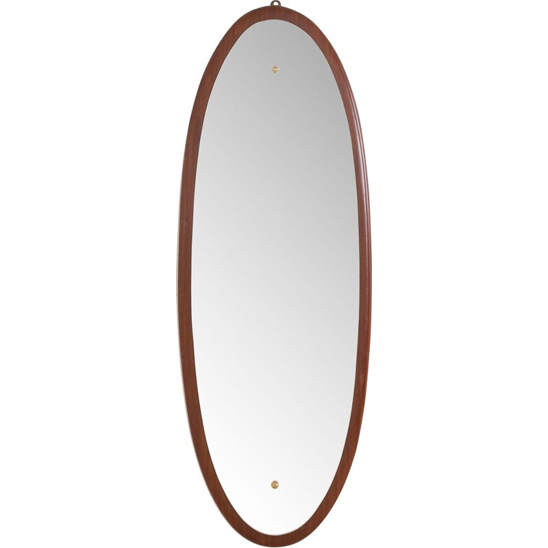 Vintage oval mirror with solid mahogany frame, Italy 1960