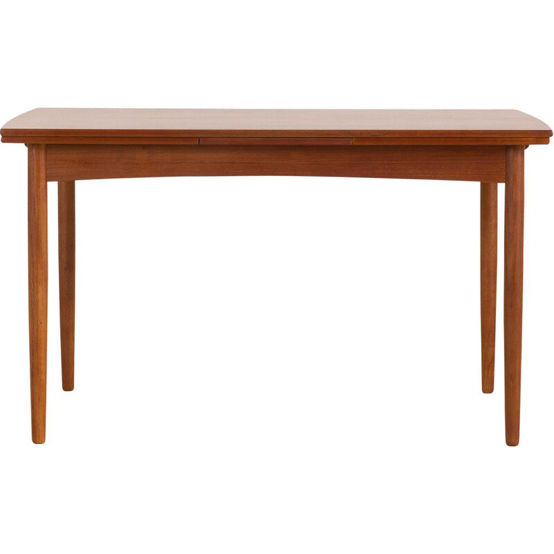 Vintage rectangular teak extensible table with rounded edges, Denmark 1960