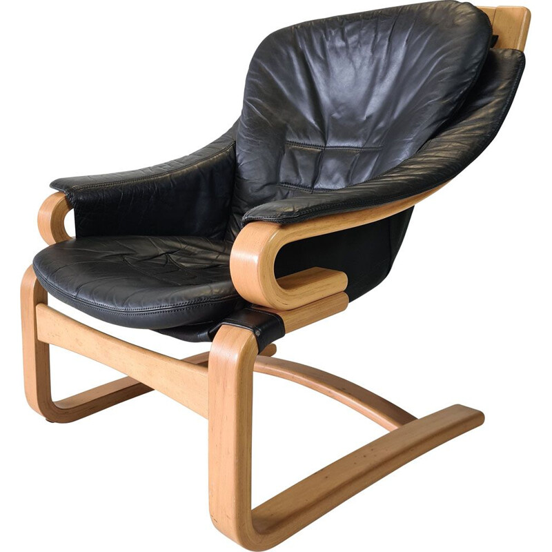 """Vintage leather lounge chair """"Apollo"""" by Svend Skipper for Skippers Mobler 1970"""