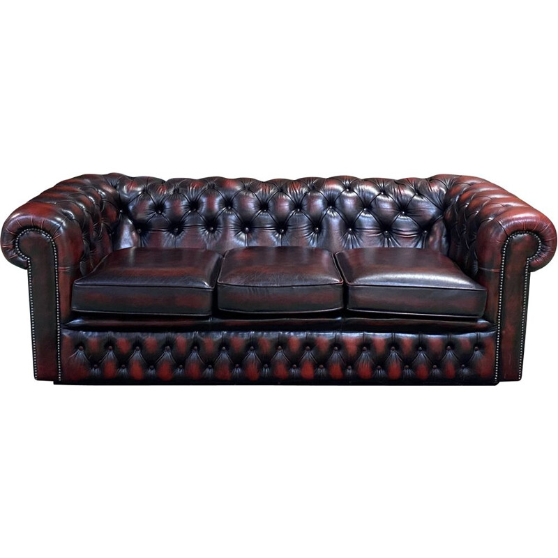 Vintage Sofa B3-75 Chesterfield 3 seater sofa in red leather - 1980