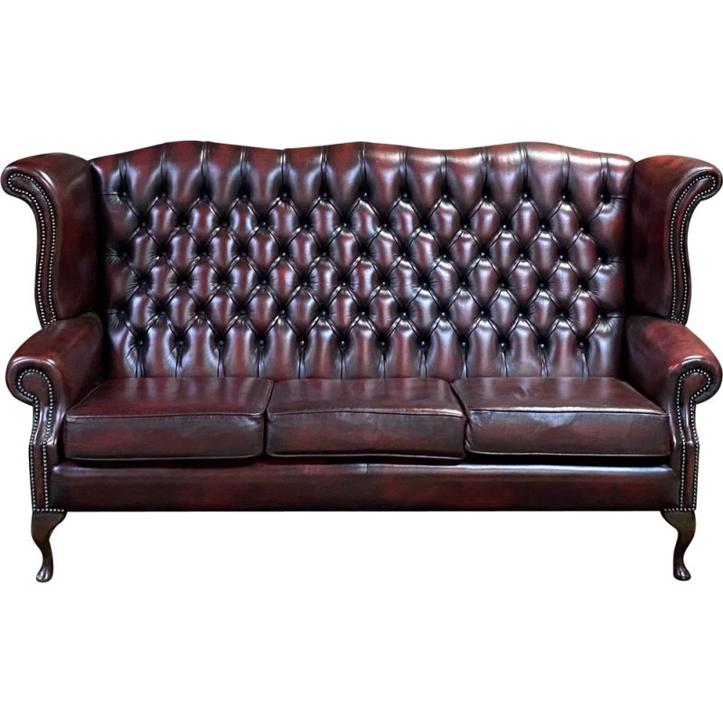 Vintage 3-seater Chesterfield sofa in red leather - 1980 English winged model