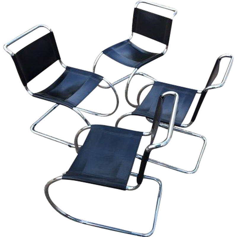 Set of 4 vintage MR10 chairs black leather, chromed frame