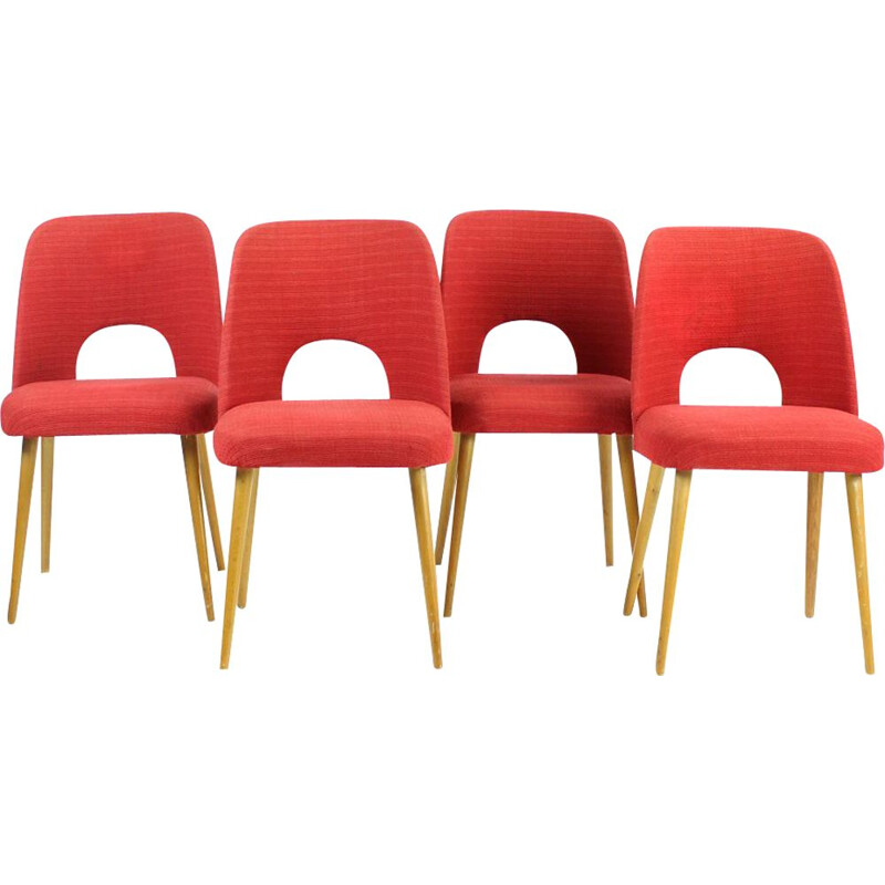 Set Of 4 Vintage Dining Chairs By Oswald Haerdtl For Ton, Czechoslovakia 1950s