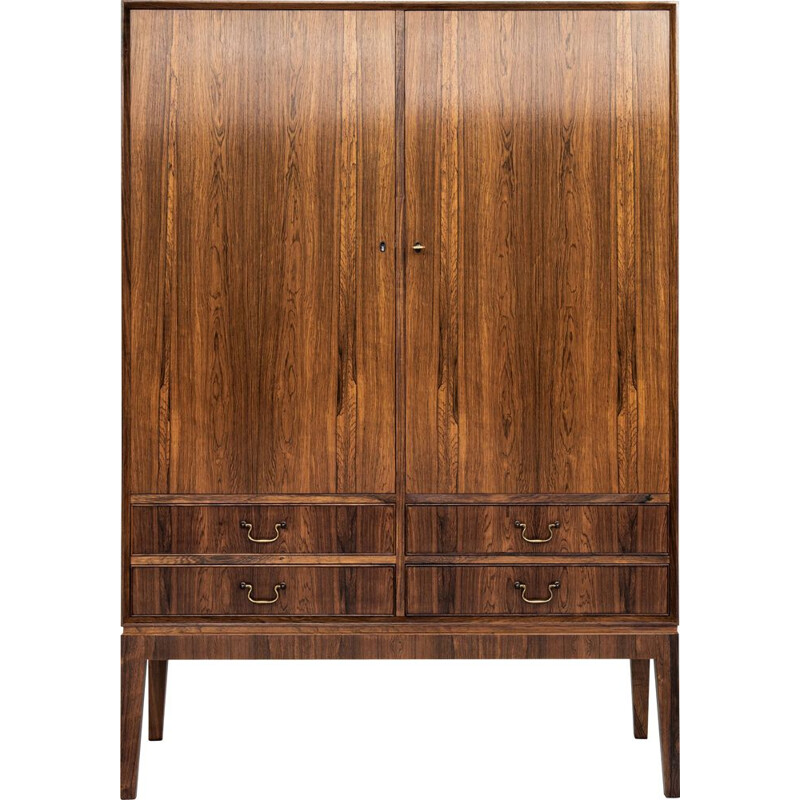 Midcentury cabinet in rosewood with 2 doors and 2 drawers with brass drawer handles Danish 1960s