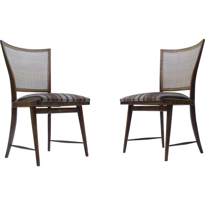 Pair of Mid-Century Wicker Dining Chairs, German 1950s