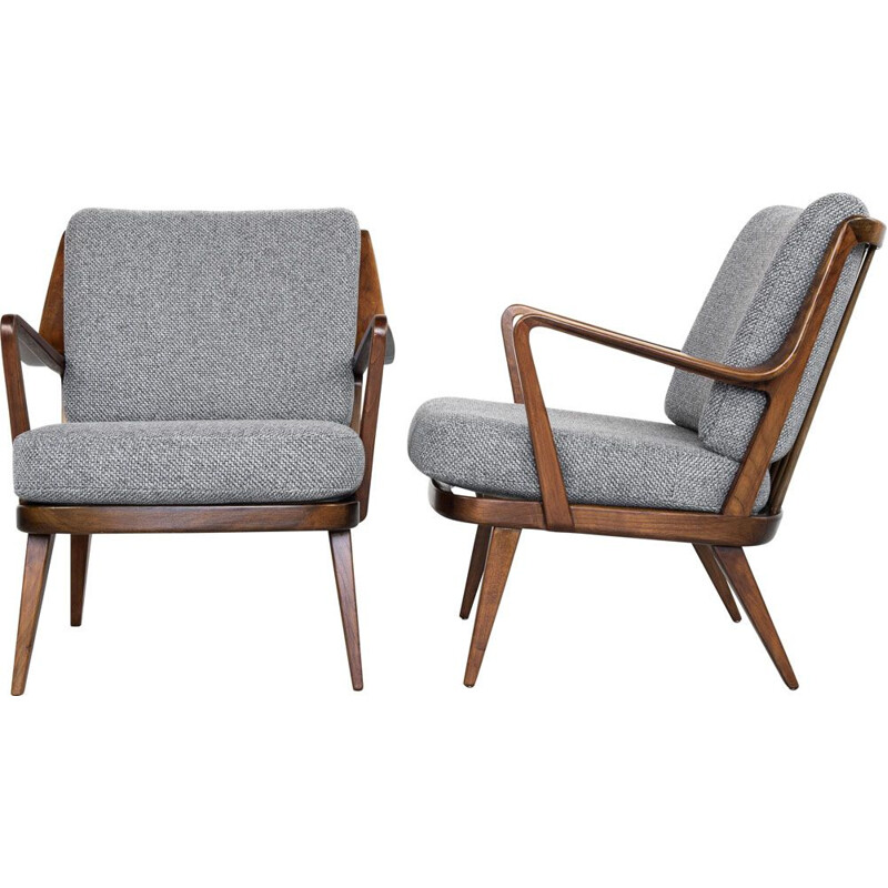 Midcentury pair of easy chairs in beech by Knoll 1960s