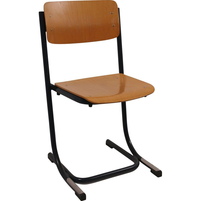 Vintage Stacking chair School chair  wood-blue frame 1970s