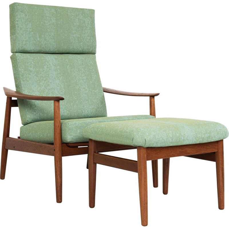 Midcentury lounge chair and ottoman in teak by Arne Vodder for France & Søn 1960s