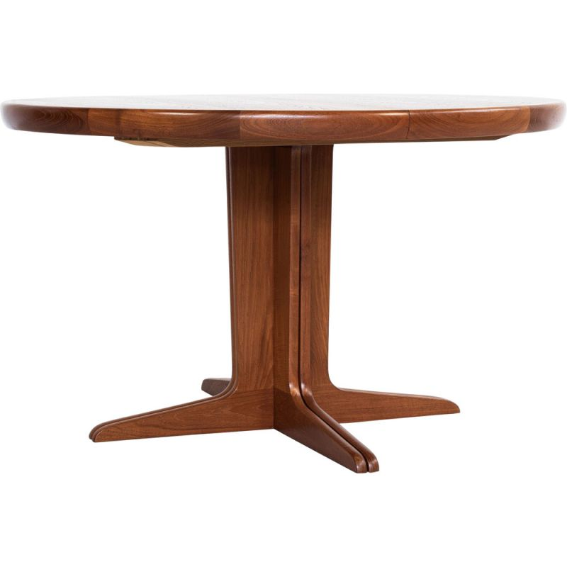Midcentury round extendable dining table in teak Danish 1960s