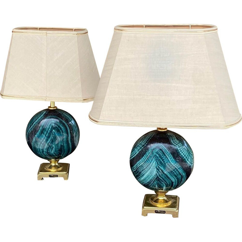 Pair of Malachite Vintage Pattern Painted Metal Table Lamps, 1970
