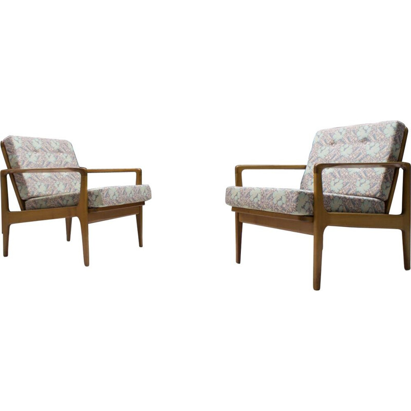 Pair of Mid-Century Armchairs in Cherry, Scandinavian 1960s