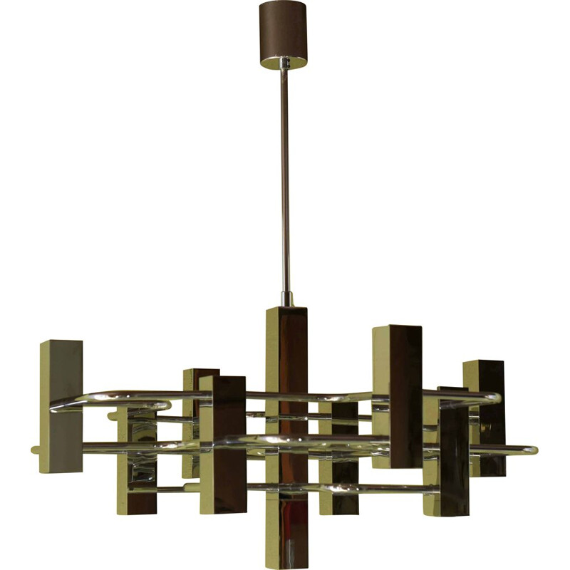 Vintage Sciolari chandelier in chrome plated metal