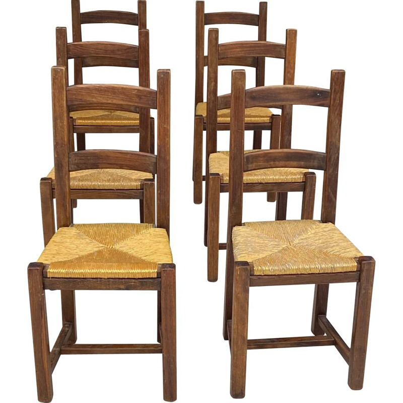 Set of 6 vintage straw and solid wood chairs, 1950