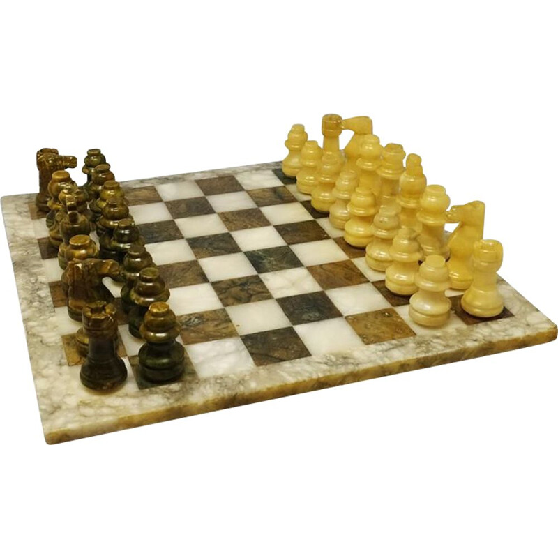 Vintage Chess Set in Green and Beige Marble Handmade Italian 1960s