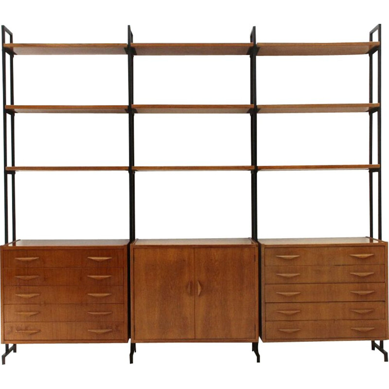 Vintage Bookcase with 2 drawers and shelves, 1960s