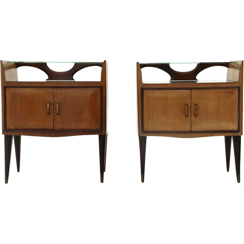 Pair of vintage bedside tables with glass shelf, 1950s