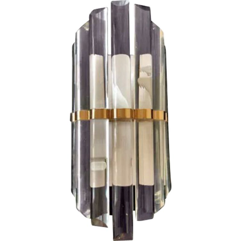 Vintage wall lamp with glass and gold structure Venini 1980