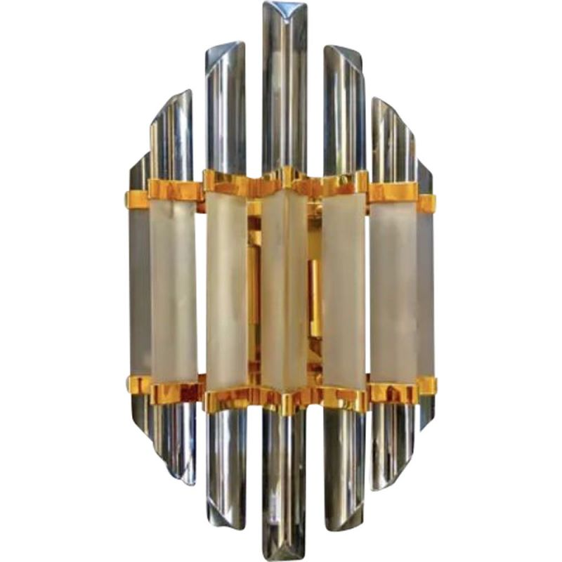 Vintage wall light with gold and frost glass finish Venini 1980