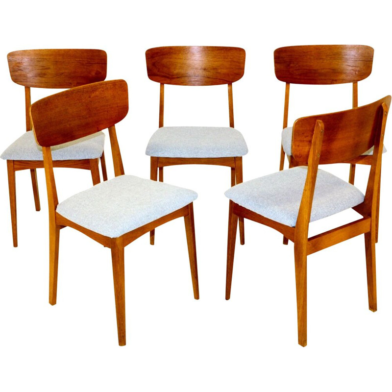 Set of 5 vintage teak and oak chairs, Denmark, 1960