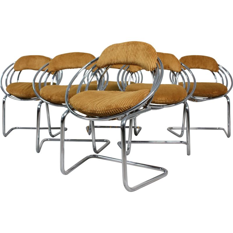 Set of 6 vintage Tubular Steel and Velvet Cantilever Dining Chairs, 1970s