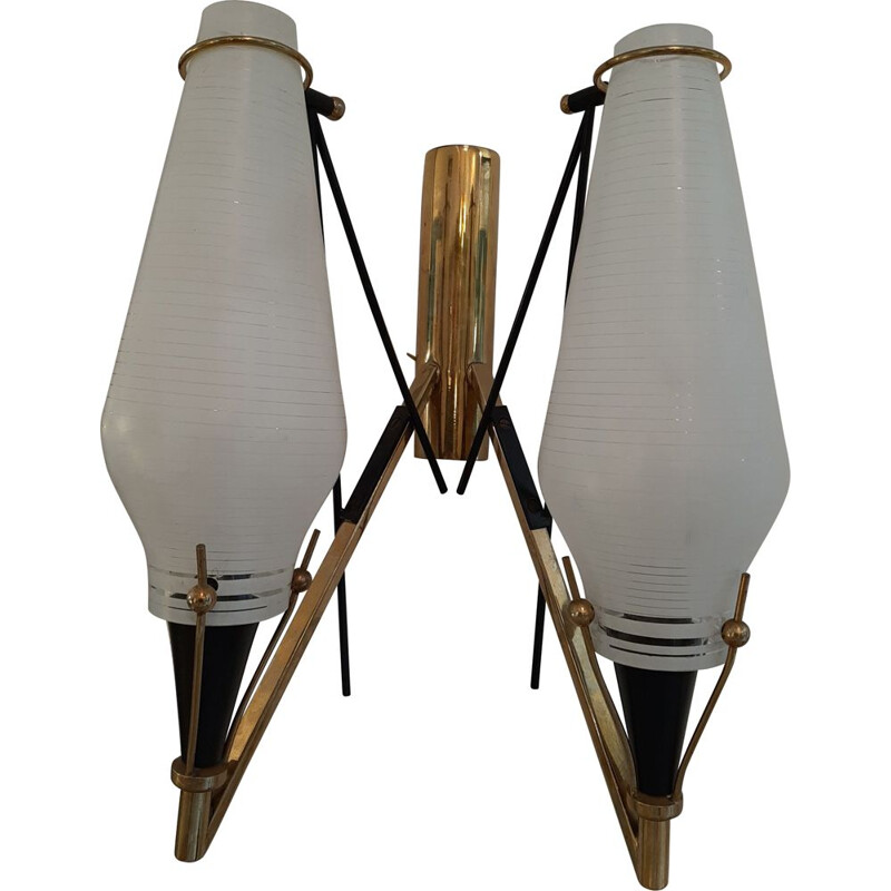 Pair of Vintage Striated Glass Wall lamps Italy 1950