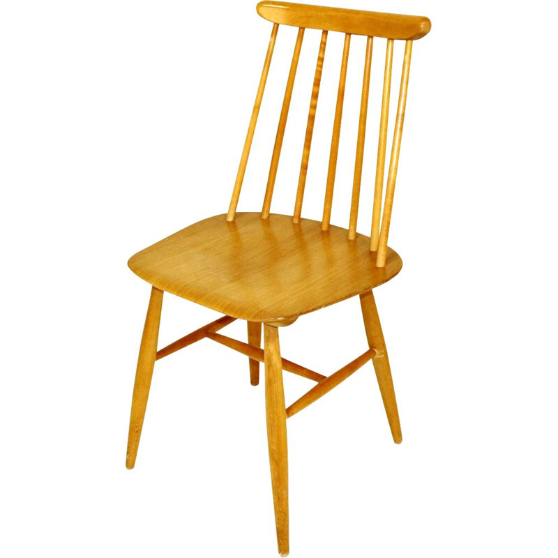"Vintage ""pinnstol"" beech wood stick chair 1960"